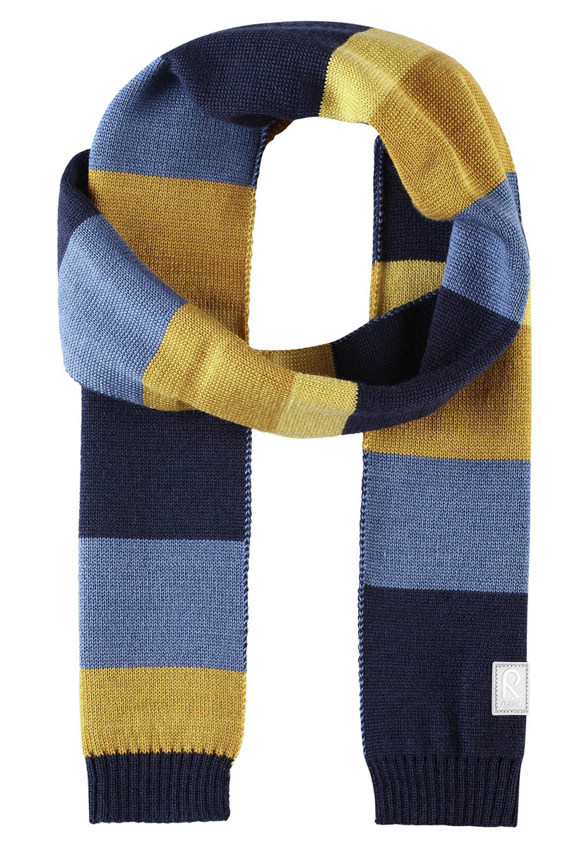 Шарф детский Reima Nyland, цвет: темно-синий. 528544698A. Размер универсальный528544698AДетский зимний шарф изготовлен из мягкого и теплого шерстяного трикотажа. Эластичный и дышащий материал обеспечивает хорошую терморегуляцию. Снабжен светоотражающей эмблемой Reima.