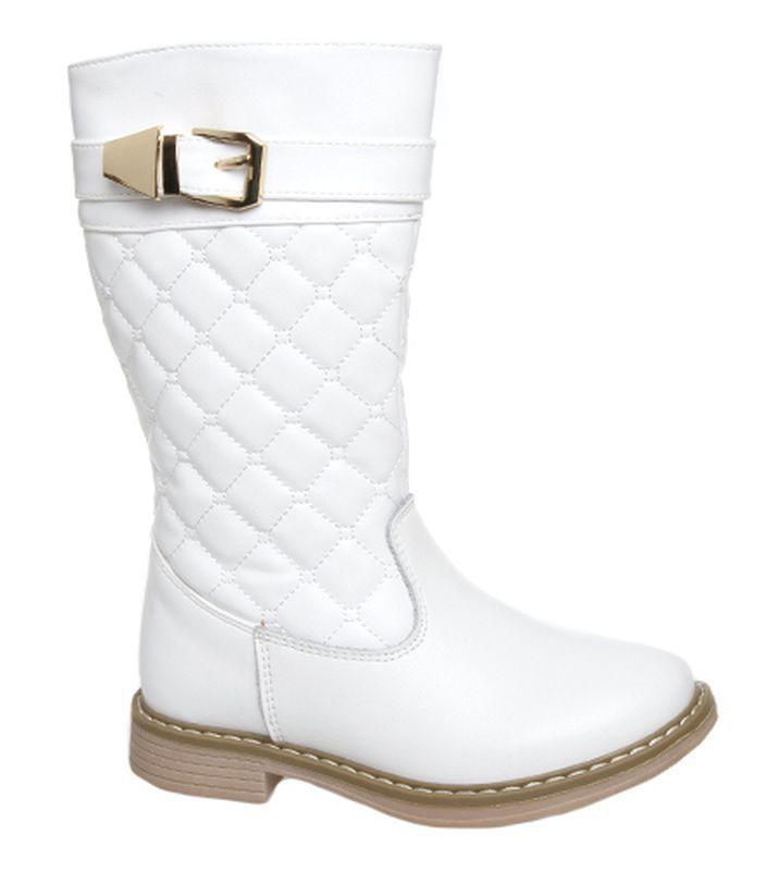 Сапоги для девочки Сказка, цвет: белый. R280626825. Размер 26R280626825Сапоги для девочки Сказка выполнены из комбинированной натуральной и искусственной кожи. Модель на ноге фиксируется при помощи молнии. Подкладка и стелька из текстиля гарантируют комфорт при носке. Гибкая и мягкая резиновая подошва долговечна и обеспечивает высокую устойчивость к деформациям, амортизация обеспечит высокий комфорт во время ежедневного использования. Сапоги оформлены декоративной пряжкой и стегаными швами.