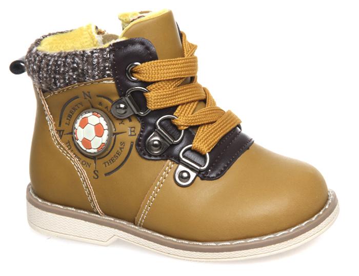 Ботинки для мальчика Сказка, цвет: желто-коричневый. R279626193. Размер 22R279626193Ботинки для мальчика Сказка выполнены из комбинированной натуральной и искусственной кожи. Модель на ноге фиксируется при помощи шнуровки и молнии. Подкладка и стелька из текстиля гарантируют комфорт при носке. Гибкая и мягкая резиновая подошва долговечна и обеспечивает высокую устойчивость к деформациям, амортизация обеспечит высокий комфорт во время ежедневного использования.