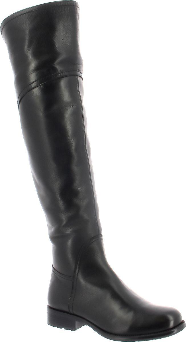 Ботфорты женские Ralf Ringer Laiza, цвет: черный. 953405ЧНН. Размер 36953405ЧННСложно переоценить красоту и удобство высоких кожаных ботфортов. Такие сапоги выглядят стильно и элегантно, при этом являются универсальной обувью, которую можно надевать в любую погоду. Особенно эффектно они смотрятся в сочетании с короткой юбкой либо облегающими брюками. Подобный тандем отлично демонстрирует красоту женских ног, визуально делая их длиннее. При этом низкий каблук и практичная подошва гарантируют полный комфорт при носке.