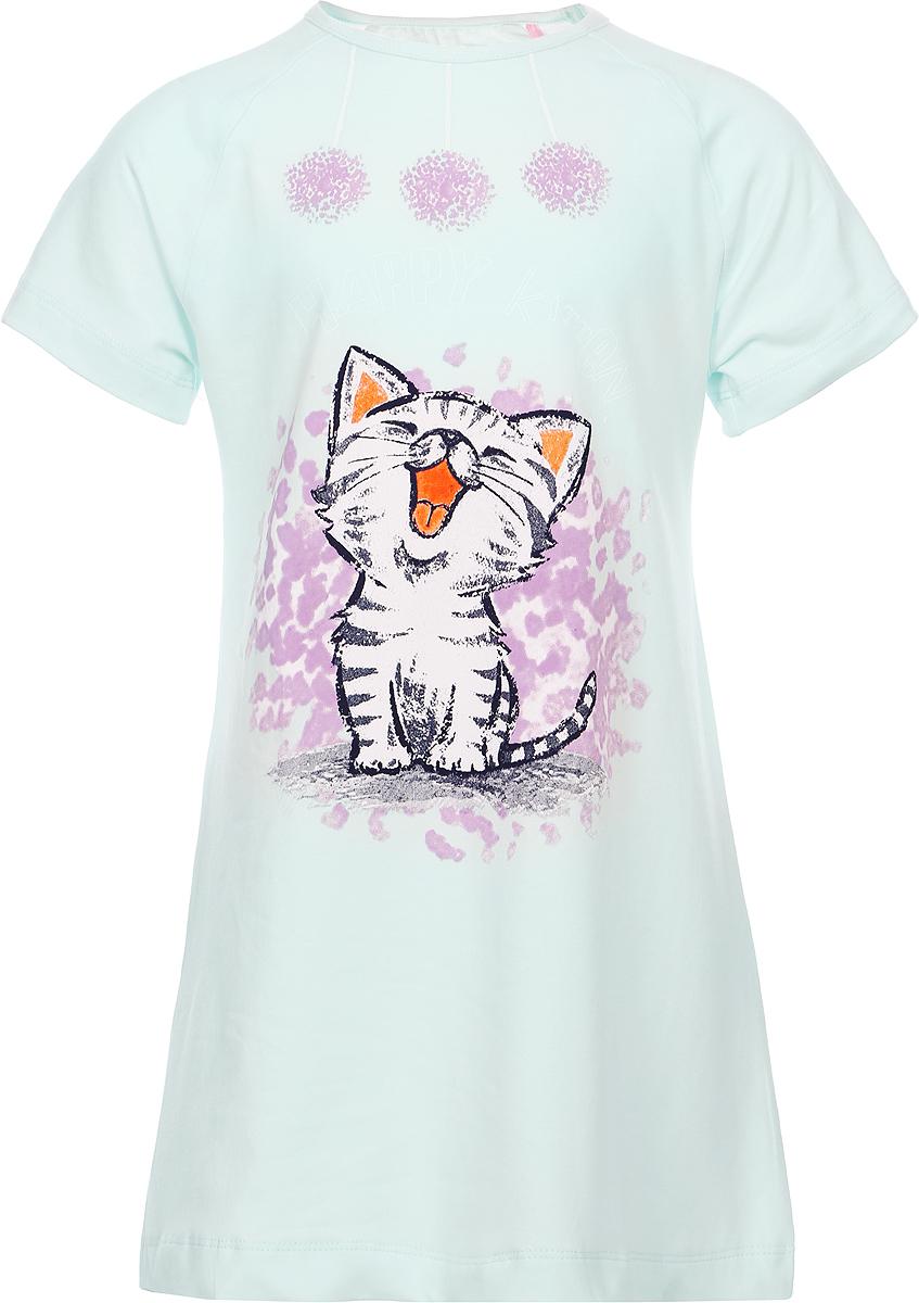 Ночная рубашка для девочки Baykar, цвет: зеленый, мультиколор. N9323240A-13. Размер 110/116N9323240A-13Ночная рубашка для девочки Baykar подарит не только комфорт и уют, но и понравится ребенку благодаря своему веселому и приятному дизайну. Изготовленная из мягкого хлопка, она тактильно приятна, хорошо пропускает воздух, а благодаря свободному крою не стесняет движений во сне.