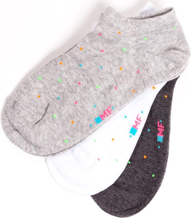 Носки женские Mark Formelle, цвет: светло-серый, белый, черный, 3 пары. 306A-117. Размер 23306A-117Удобные женские носки Mark Formelle, изготовленные из хлопка с добавлением полиамида и эластана, оформлены принтом. Эластичная резинка плотно облегает ногу, не сдавливая ее, обеспечивая комфорт и удобство, а усиленные пятка и мысок обеспечивают надежность и долговечность при носке.