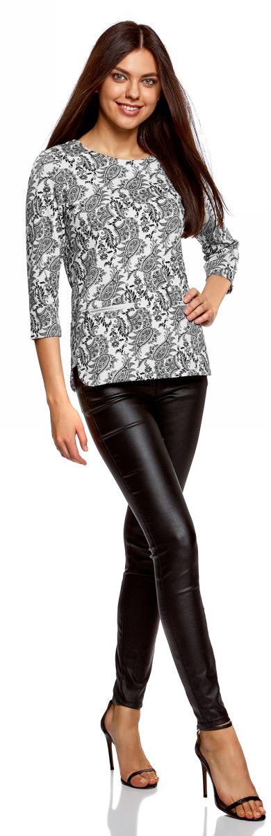 Блузка женская oodji Collection, цвет: кремовый, черный. 24200002-1/37809/3029E. Размер XS (42)24200002-1/37809/3029EМодная женская блузка oodji изготовлена из качественной плотной ткани. Модель выполнена с рукавами 3/4 и круглым вырезом. Блузка застегивается сверху на спинке на молнию. Передняя часть оформлена декоративными молниями.