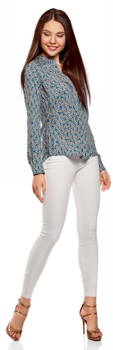Блузка женская oodji Collection, цвет: темно-изумрудный, бежевый. 21400394-1B/39658N/6E33F. Размер 38 (44-170)21400394-1B/39658N/6E33FСтильная блузка oodji прямого кроя изготовлена из качественной ткани. Модель выполнена с V-образным вырезом и длинными рукавами. Манжеты рукавов дополнены застежками-пуговицами.