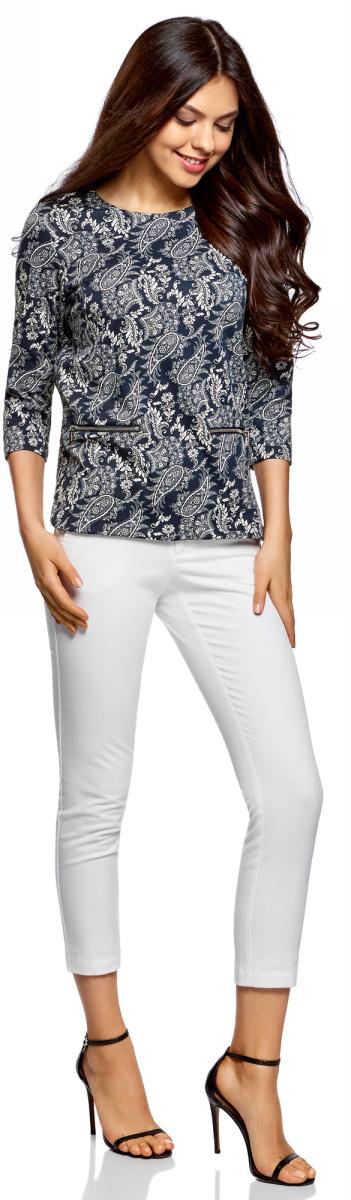 Блузка женская oodji Collection, цвет: темно-синий, кремовый, этника. 24200002-1/37809/7930E. Размер XS (42)24200002-1/37809/7930EБлузка с рукавом 3/4 и декоративными молниями