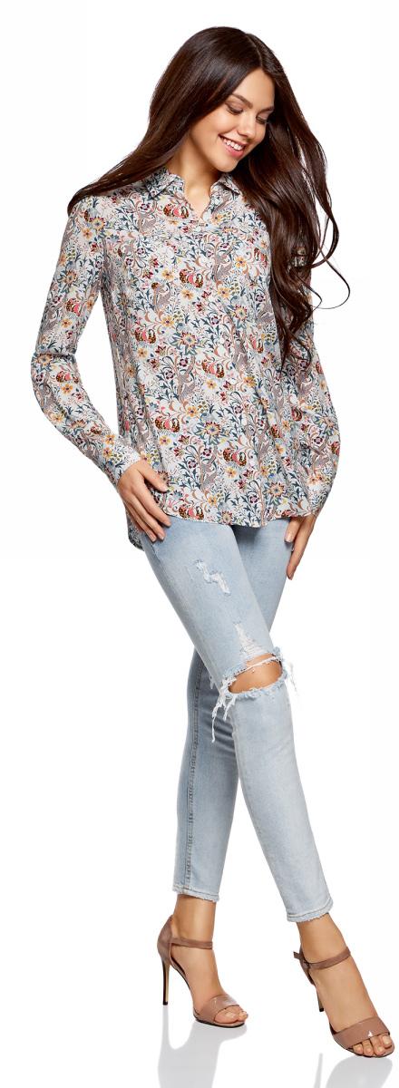 Блузка женская oodji Ultra, цвет: белый, терракотовый. 11400355-3B/26346/1231F. Размер 34 (40-170)11400355-3B/26346/1231FБлузка oodji свободного кроя с нагрудными карманами и регулировкой длины рукава. Классический отложной воротник, спереди застежка на пуговицы, два нагрудных кармана, длинные рукава с манжетами на пуговице. Спинка на кокетке, от которой по центру заложена мягкая складка. Втачной рукав четко обозначают линию плеча. Рукав регулируется по длине и фиксируется пришитой с изнаночной стороны штрипкой. Такая особенность кроя позволяет открыть руки. Фигурный низ зрительно удлиняет силуэт и стройнит фигуру. Модель сшита из приятной на ощупь вискозы, которая мягко струится, дает коже дышать и комфортна в ношении. Блузка прекрасно смотрится на разных фигурах. Элегантная блузка с нагрудными карманами – основа гардероба в классическом стиле. Она идеально сочетается с зауженными брюками, прямыми юбками и стильными сарафанами. Туфли-лодочки, балетки и лоферы на платформе, в сочетании с элегантной сумкой, завершат образ успешной бизнес-леди. В прохладную погоду пиджак, жилет или френч подчеркнут изысканность вашего наряда. Если вам предстоит отправиться на важную встречу образ можно дополнить шелковым шарфом и поясом. Такие детали добавят наряду изящества и подчеркнут ваши достоинства. В этой блузке вы почувствуете себя на высоте в любой обстановке.