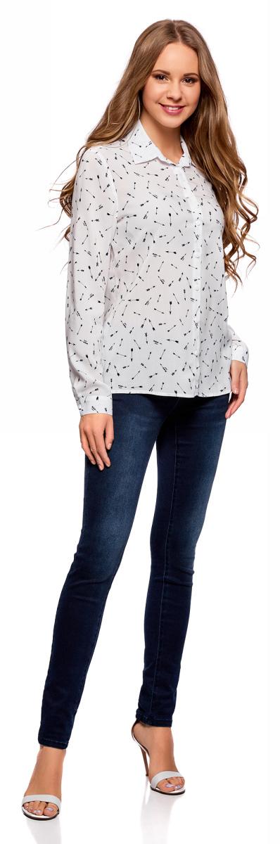 Блузка женская oodji Ultra, цвет: кремовый, темно-синий. 11411098-3/24681/3079G. Размер 38 (44-170)11411098-3/24681/3079GЖенская блузка oodji Ultra выполнена из 100% вискозы. Модель с отложным воротником и длинными рукавами застегивается на пуговицы.