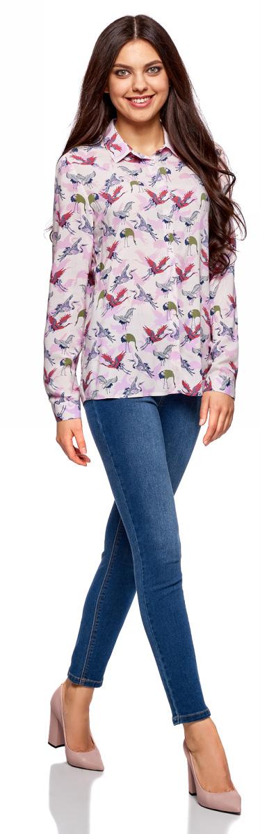 Блузка женская oodji Ultra, цвет: светло-розовый, зеленый. 11411098-1/24681/4062Q. Размер 38 (44-170)11411098-1/24681/4062QЖенская стильная блузка oodji Ultra выполнена из 100% вискозы. Модель с длинными рукавами и отложным воротником застегивается на пуговицы по всей длине, манжеты рукавов также дополнены застежками-пуговицами.