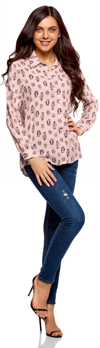 Блузка женская oodji Ultra, цвет: светло-розовый, черный. 11411098-3/24681/4029O. Размер 34 (40-170)11411098-3/24681/4029OЖенская блузка oodji Ultra выполнена из 100% вискозы. Модель с отложным воротником и длинными рукавами застегивается на пуговицы.
