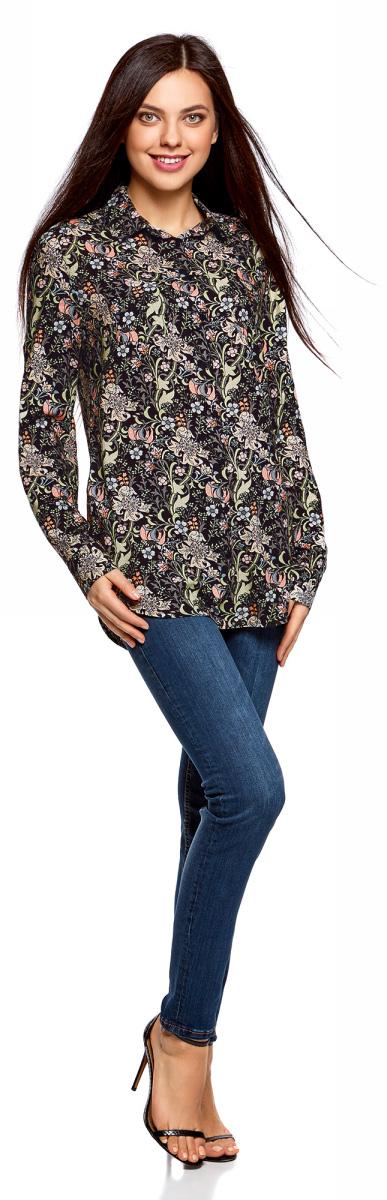 Блузка женская oodji Ultra, цвет: черный, персиковый. 11400355-3B/26346/2954F. Размер 38 (44-170)11400355-3B/26346/2954FБлузка oodji свободного кроя с нагрудными карманами и регулировкой длины рукава. Классический отложной воротник, спереди застежка на пуговицы, два нагрудных кармана, длинные рукава с манжетами на пуговице. Спинка на кокетке, от которой по центру заложена мягкая складка. Втачной рукав четко обозначают линию плеча. Рукав регулируется по длине и фиксируется пришитой с изнаночной стороны штрипкой. Такая особенность кроя позволяет открыть руки. Фигурный низ зрительно удлиняет силуэт и стройнит фигуру. Модель сшита из приятной на ощупь вискозы, которая мягко струится, дает коже дышать и комфортна в ношении. Блузка прекрасно смотрится на разных фигурах. Элегантная блузка с нагрудными карманами – основа гардероба в классическом стиле. Она идеально сочетается с зауженными брюками, прямыми юбками и стильными сарафанами. Туфли-лодочки, балетки и лоферы на платформе, в сочетании с элегантной сумкой, завершат образ успешной бизнес-леди. В прохладную погоду пиджак, жилет или френч подчеркнут изысканность вашего наряда. Если вам предстоит отправиться на важную встречу образ можно дополнить шелковым шарфом и поясом. Такие детали добавят наряду изящества и подчеркнут ваши достоинства. В этой блузке вы почувствуете себя на высоте в любой обстановке.