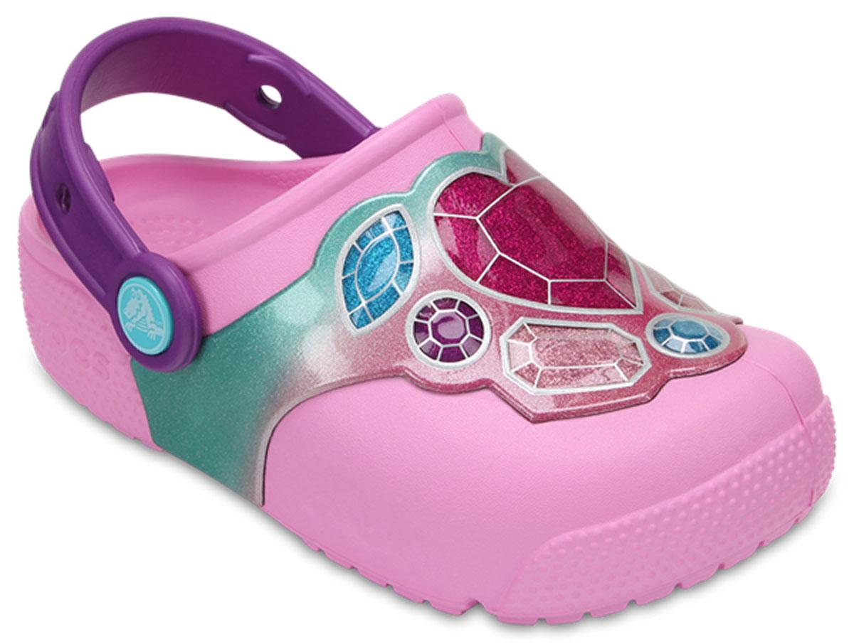 Сабо детские Crocs FunLab Lights, цвет: розовый. 204133-96A. Размер C10 (27)204133-96A