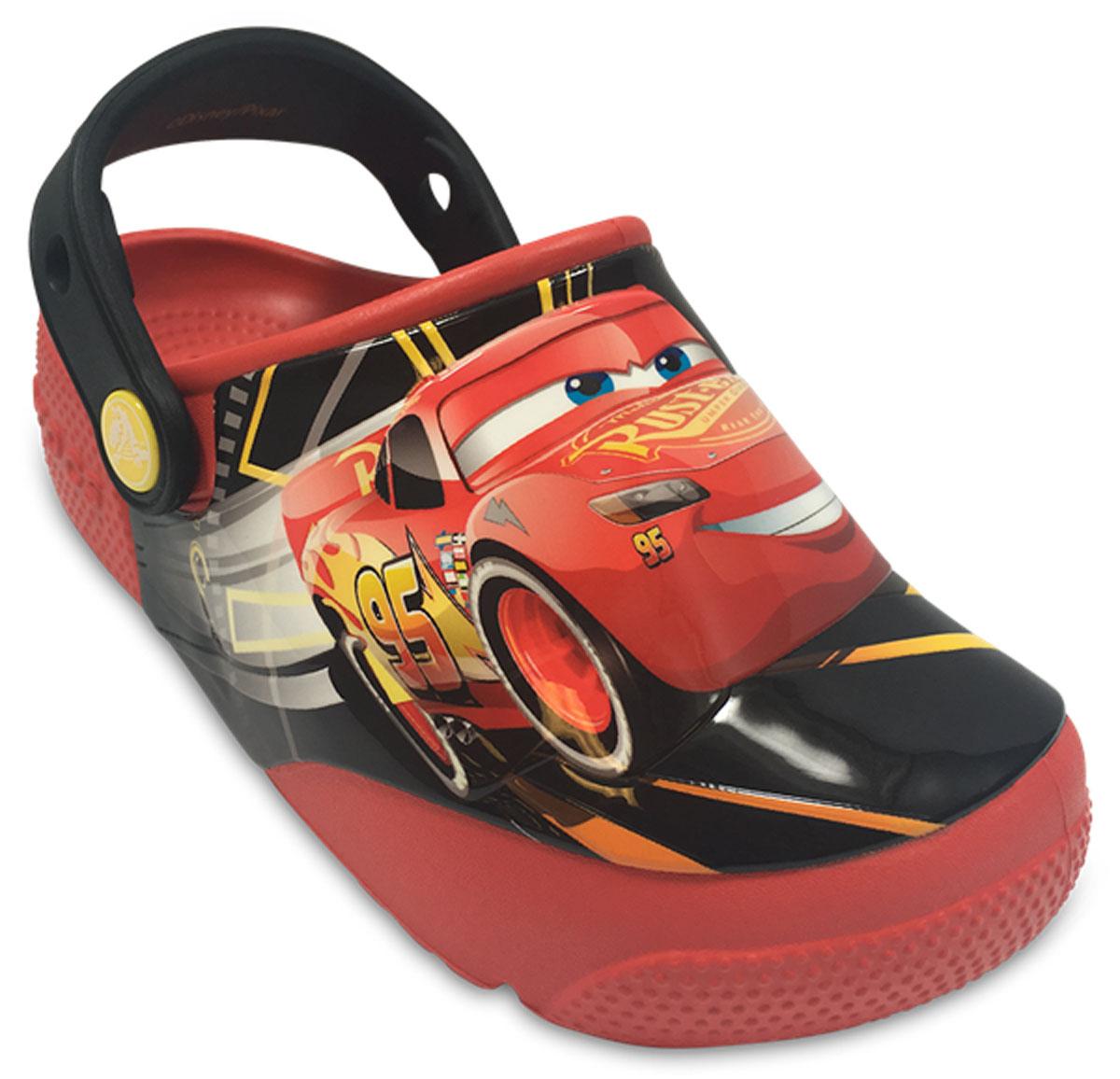 Сабо детские Crocs FunLab Lights Cars 3 Clog, цвет: красный. 204138-8C1. Размер C10 (27)204138-8C1