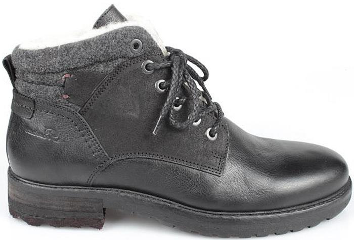 Ботинки мужские El Tempo, цвет: черный. PP306_6370_BLACK. Размер 41PP306_6370_BLACKМужские ботинки El Tempo выполнены из натуральной кожи. Модель на шнуровке. Подкладка и стелька изготовлены из натуральной шерсти. Подошва из прочной резины оснащена рифлением.