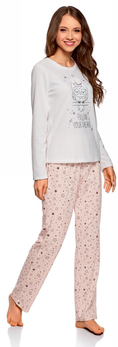 Брюки женские oodji Ultra, цвет: светло-розовый, темно-фиолетовый. 59807023-1/24336/4088G. Размер M (46)59807023-1/24336/4088GДомашние брюки свободного кроя oodji изготовлены из флиса. Пояс с завязками позволяет регулировать брюки по талии. Нежная, приятная на ощупь ткань создает ощущение уюта. В таких брюках дома вы всегда будете хорошо выглядеть и комфортно себя чувствовать. Однако, эти брюки могут служить не только домашним нарядом. Они станут и прекрасным нарядом для пижамной вечеринки. Брюки даже заменят спортивную одежду, если добавить к ним толстовку. В этих флисовых брюках вы почувствуете себя уютно в любой обстановке.