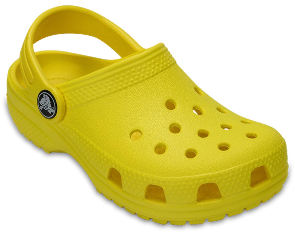 Сабо детские Crocs Classic Clog K, цвет: желтый. 204536-7C1. Размер C6 (23)204536-7C1Стильные сабо Classic Clog K придутся по душе вашему ребенку. Модель полностью выполнена из полимерного материала контрастных цветов. Внутри утеплены искусственным мехом. Съемный пяточный ремешок, оформленный названием бренда, предназначен для фиксации стопы при ходьбе. Рифление на подошве гарантирует идеальное сцепление с любой поверхностью. Такие сабо - отличное решение для каждодневного использования!