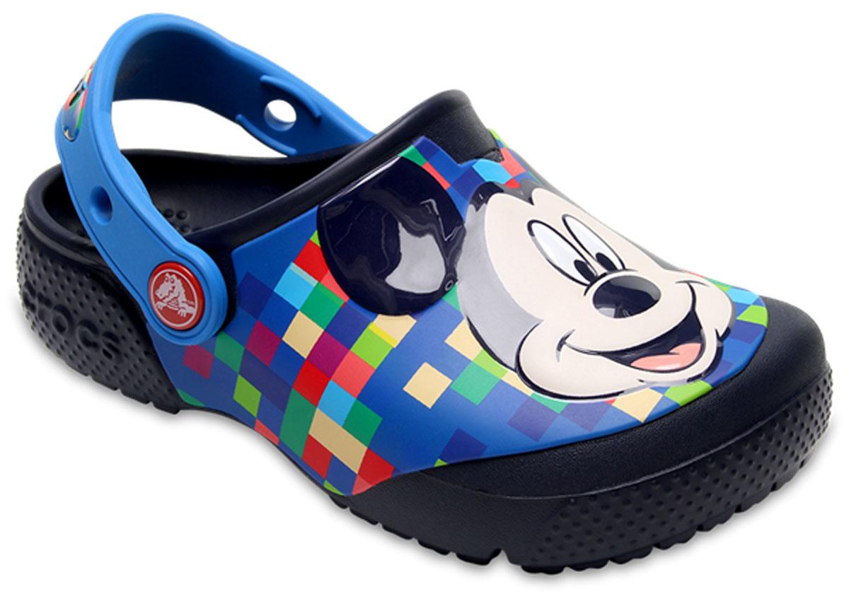 Сабо детские Crocs FunLab Mickey Clog, цвет: темно-синий. 204708-410. Размер C8 (25)204708-410