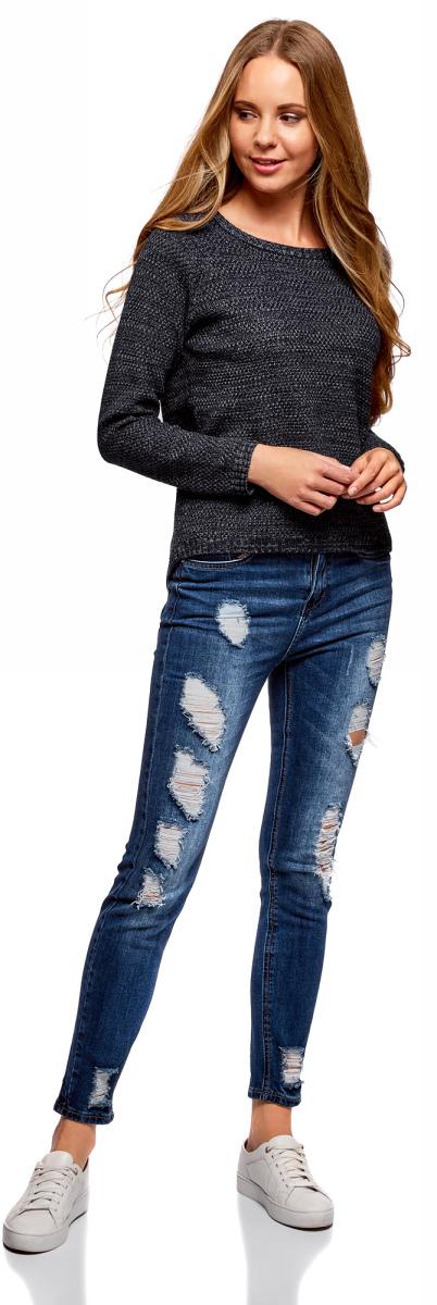 Джемпер женский oodji Ultra, цвет: темно-синий, темно-серый меланж. 63805270-2/42566/7925M. Размер L (48)63805270-2/42566/7925MДжемпер oodji изготовлен из меланжевого материала сложного состава. Модель свободного кроя выполнена с длинными рукавами и круглым вырезом горловины.
