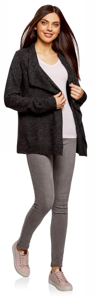 Жакет женский oodji Ultra, цвет: черный, белый меланж. 63207187/45716/2912M. Размер M (46)63207187/45716/2912MЖакет трикотажный без застежки