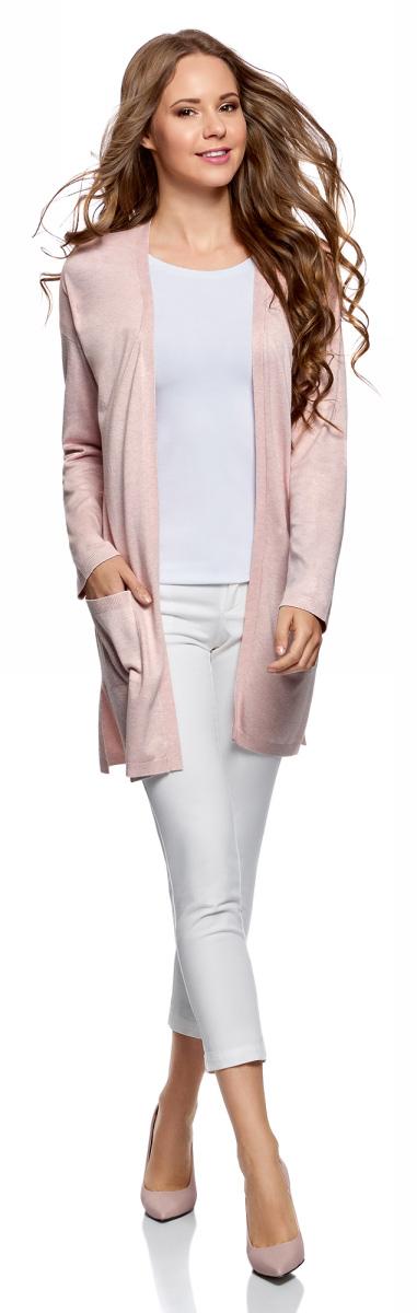 Кардиган женский oodji Ultra, цвет: светло-розовый меланж. 63212589/45904/4000M. Размер XS (42)63212589/45904/4000MТрикотажный кардиган oodji изготовлен из качественного смесового материала. Удлиненная модель выполнена с длинными рукавами и без застежки. Спереди расположены накладные карманы.