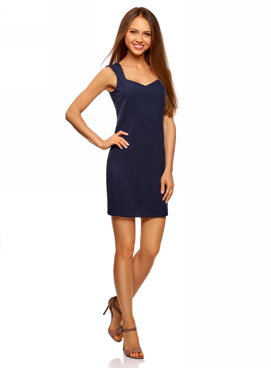 Платье oodji Ultra, цвет: темно-синий. 12C02001B/14917/7900N. Размер 38 (44-164)12C02001B/14917/7900NСтильное платье oodji изготовлено из качественного плотного полиэстера. Приталенная модель выполнена с фигурным вырезом и без рукавов.