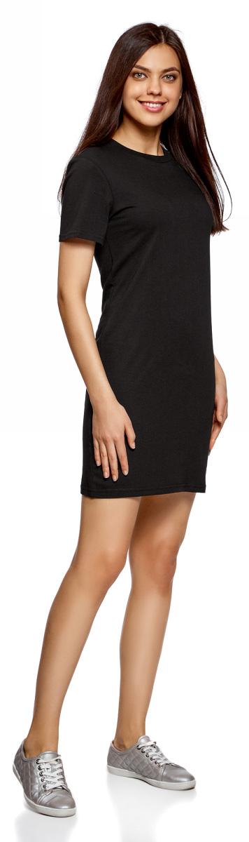 Платье oodji Ultra, цвет: черный. 14001194/46154/2900N. Размер L (48)14001194/46154/2900NТрикотажное платье oodji изготовлено из качественного натурального хлопка. Модель прямого силуэта выполнена с круглой горловиной и короткими рукавами.