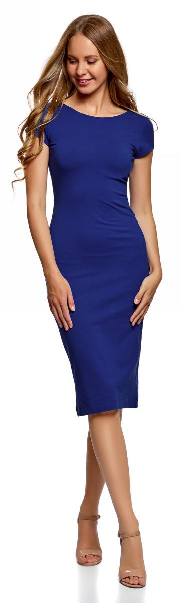 Платье oodji Collection, цвет: синий. 24001104-5B/47420/7500N. Размер XXL (52)24001104-5B/47420/7500NСтильное платье oodji изготовлено из качественного материала на основе хлопка. Облегающая модель с круглой горловиной и короткими рукавами. Спинка выполнена с глубоким круглым вырезом.