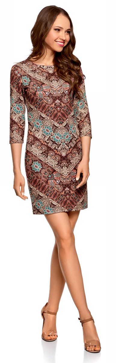 Платье oodji Ultra, цвет: темно-коричневый, коралловый. 14001105-5/45344/3943E. Размер L (48)14001105-5/45344/3943EКороткое элегантное платье oodji облегающего силуэта с рукавами 3/4. На спинке - небольшая молния. Вырез-лодочка красиво подчеркивает линию шеи и плеч. Рукава 3/4 визуально стройнят силуэт и акцентируют внимание на талии. Облегающее платье изящно подчеркивает изгибы фигуры, привлекает внимание к ногам и бедрам. Красивое короткое платье облегающего силуэта прекрасно подойдет для особенных случаев. В нем можно пойти на свидание, в кафе, кино или на встречу. Достаточно подобрать к платью подходящую случаю обувь и сумочку, и у вас готов эффектный наряд. В прохладные дни платье можно дополнить легким тренчем, жакетом или пальто. Это платье идеально подойдет для создания женственного и соблазнительного наряда. Красивое платье для утонченных особ!