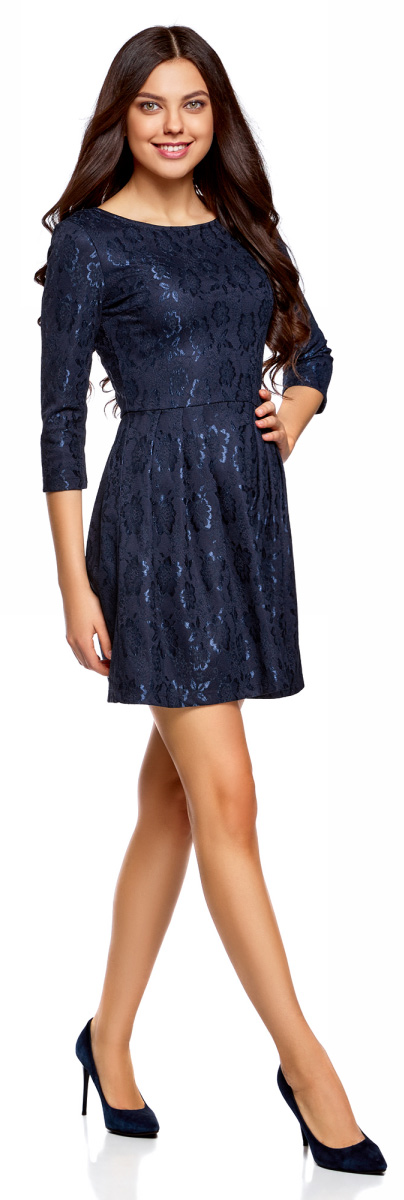 Платье oodji Ultra, цвет: темно-синий. 14011005-1/42644/7900N. Размер M (46)14011005-1/42644/7900NСтильное платье oodji изготовлено из качественного полиамида. Приталенная модель с круглой горловиной, пышной юбкой и рукавами 3/4. Платье застегивается на спинке на молнию.