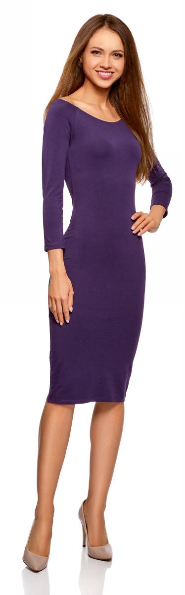 Платье oodji Ultra, цвет: темно-фиолетовый. 14017001-6B/47420/8800N. Размер L (48)14017001-6B/47420/8800NСтильное платье oodji изготовлено из качественного эластичного хлопка. Облегающая модель с горловиной-лодочкой и рукавами 3/4.