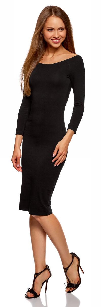 Платье oodji Ultra, цвет: черный. 14017001-6B/47420/2900N. Размер XXS (40)14017001-6B/47420/2900NСтильное платье oodji изготовлено из качественного эластичного хлопка. Облегающая модель с горловиной-лодочкой и рукавами 3/4.