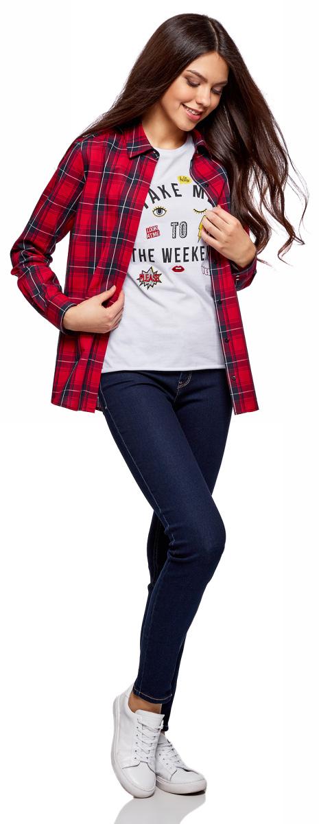 Рубашка женская oodji Ultra, цвет: красный, темно-синий, клетка. 11411099-3/43566/4579C. Размер 44 (50-170)11411099-3/43566/4579CРубашка в клетку хлопковая
