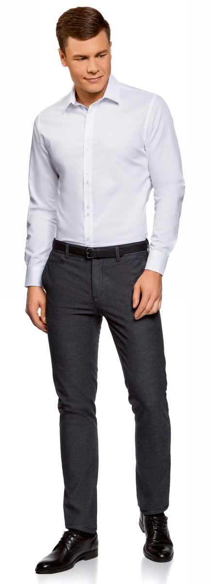 Рубашка мужская oodji Basic, цвет: белый. 3B110020M/39771N/1000N. Размер 43 (54-182)3B110020M/39771N/1000NРубашка базовая из фактурной ткани