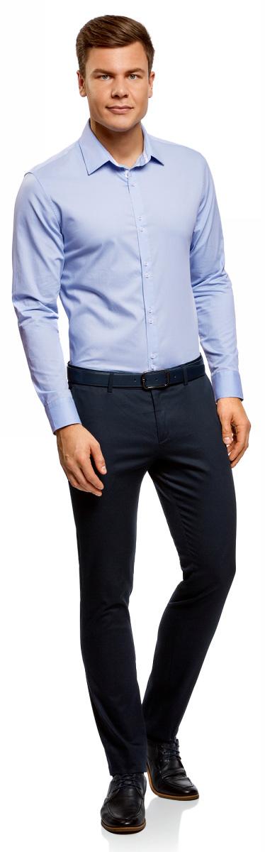 Рубашка мужская oodji Basic, цвет: голубой. 3B110020M/39771N/7000N. Размер 43 (54-182)3B110020M/39771N/7000NМужская рубашка oodji с длинными рукавами изготовлена из натурального хлопка. Рубашка застегивается на пуговицы, манжеты рукавов дополнены застежками-пуговицами.