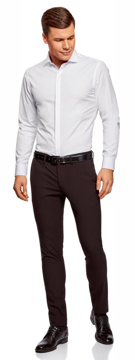 Рубашка мужская oodji Basic, цвет: белый. 3B110017M/47184N/1000N. Размер 41 (50-182)3B110017M/47184N/1000NРубашка базовая из фактурной ткани
