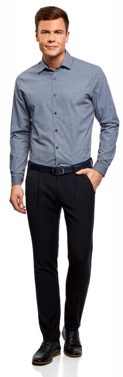 Рубашка мужская oodji Lab, цвет: темно-синий, синий. 3L110262M/19370N/7975G. Размер 41 (50-182)3L110262M/19370N/7975GРубашка приталенная с графичным принтом