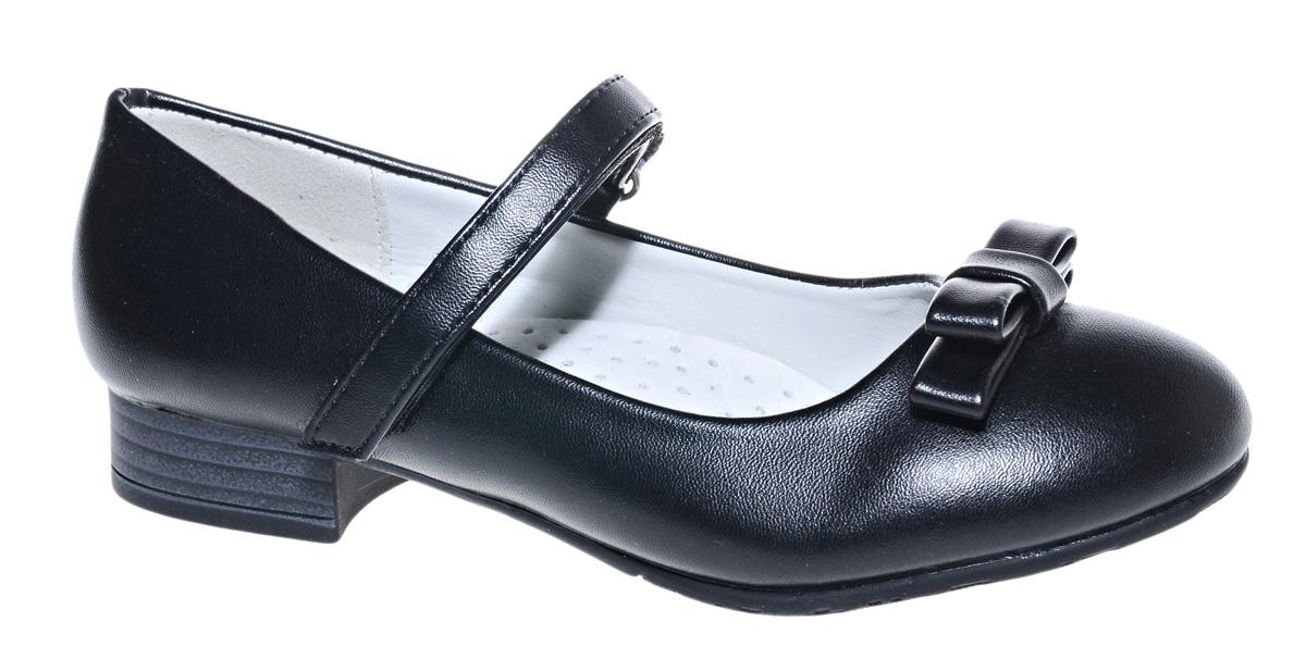 Туфли для девочки М+Д, цвет: черный. 7813_1А. Размер 367813_1АСтильные туфли для девочки от М+Д выполнены из искусственной лаковой кожи. Модель на небольшом квадратном каблуке на подъеме фиксируется при помощи ремешка на липучке. Модель оформлена очаровательным бантиком.