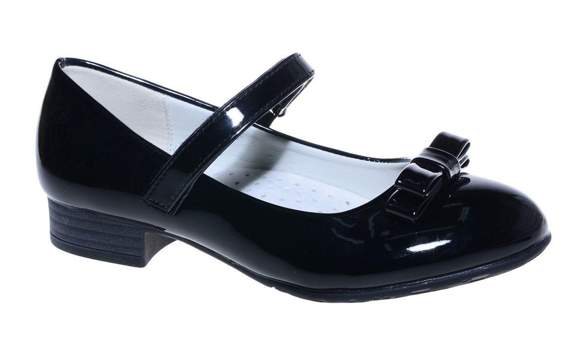 Туфли для девочки М+Д, цвет: черный. 7813_1В. Размер 357813_1ВСтильные туфли для девочки от М+Д выполнены из искусственной кожи. Модель на небольшом квадратном каблуке на подъеме фиксируется при помощи ремешка на липучке. Модель оформлена очаровательным бантиком.