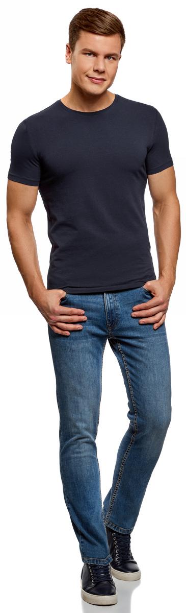 Футболка мужская oodji Basic, цвет: темно-синий, 2 шт. 5B611004T2/46737N/7901N. Размер XXL (58/60)5B611004T2/46737N/7901NМужская базовая футболка от oodji выполнена из эластичного хлопкового трикотажа. Модель с короткими рукавами и круглым вырезом горловины. В комплекте 2 футболки.