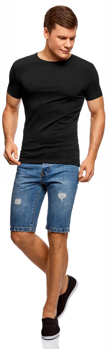 Футболка мужская oodji Basic, цвет: черный, 5 шт. 5B611004T5/46737N/2900N. Размер M (50)5B611004T5/46737N/2900NМужская базовая футболка от oodji выполнена из эластичного хлопкового трикотажа. Модель с короткими рукавами и круглым вырезом горловины. В комплекте 5 футболок.