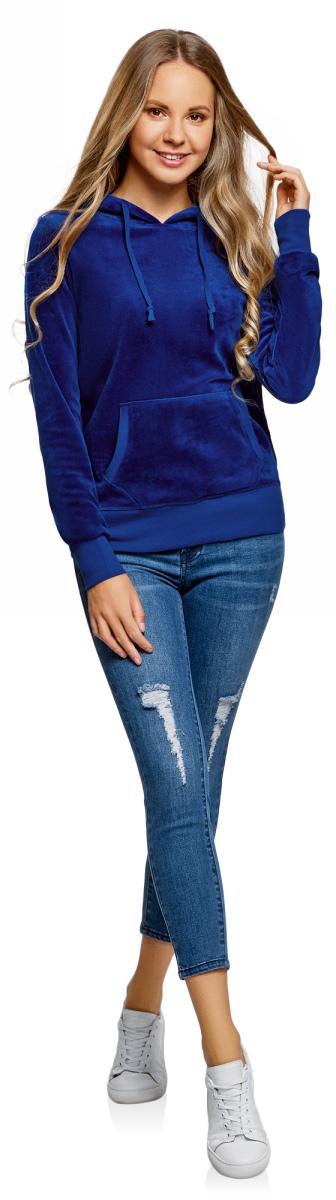 Худи женское oodji Ultra, цвет: синий. 15401001B/47883/7500N. Размер M (46)15401001B/47883/7500NХуди базовая с карманом