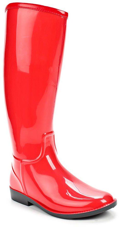 Резиновые сапоги женские Anra, цвет: красный. 365М-01. Размер 36365М-01Женские резиновые сапоги от Anra выполнены из ПВХ. Модель с высоким голенищем утеплена ворсином.