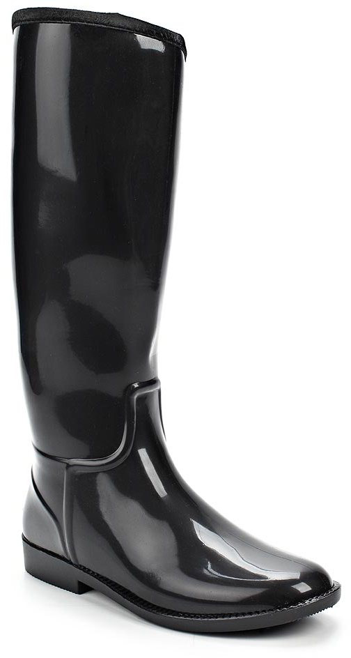 Резиновые сапоги женские Anra, цвет: черный. 365М-01. Размер 37365М-01Женские резиновые сапоги от Anra выполнены из ПВХ. Модель с высоким голенищем утеплена ворсином.