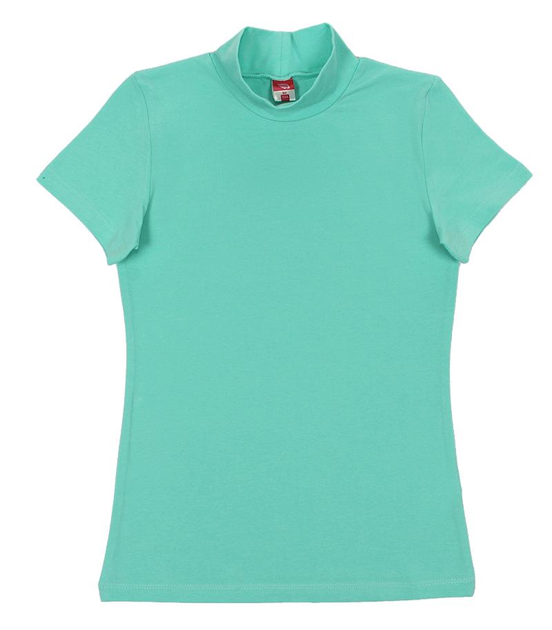 Водолазка для девочки Cherubino, цвет: светло-бирюзовый. CAJ 61632. Размер 128CAJ 61632Водолазка для девочки, гладкокрашенная, из трикотажа с эластаном, с коротким рукавом.