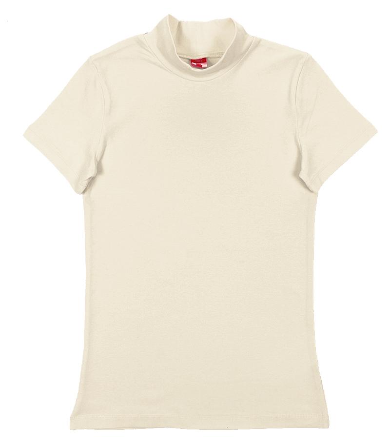 Водолазка для девочки Cherubino, цвет: экрю. CAJ 61632. Размер 152CAJ 61632Водолазка для девочки, гладкокрашенная, из трикотажа с эластаном, с коротким рукавом.
