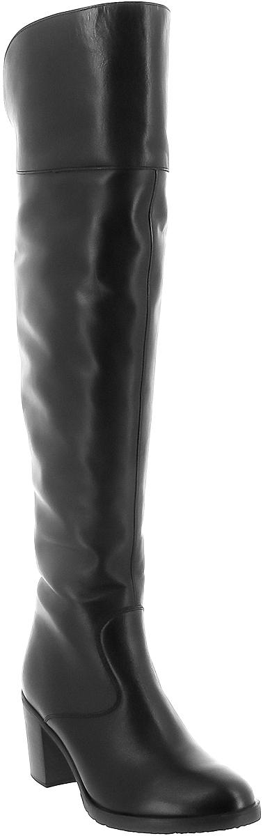 Ботфорты женские Ralf Ringer Vetta, цвет: черный. 962402ЧНН. Размер 39962402ЧННКожаные высокие ботфорты очень гармонично сочетаются с джинсами или узкими брюками. Они надежно защитят от холода и подчеркнут ваш стиль. В этой модели все продумано для удобства носки. Невысокий каблук, устойчивая подошва позволят вам чувствовать себя уверенно и в мороз, и в сильный гололед.