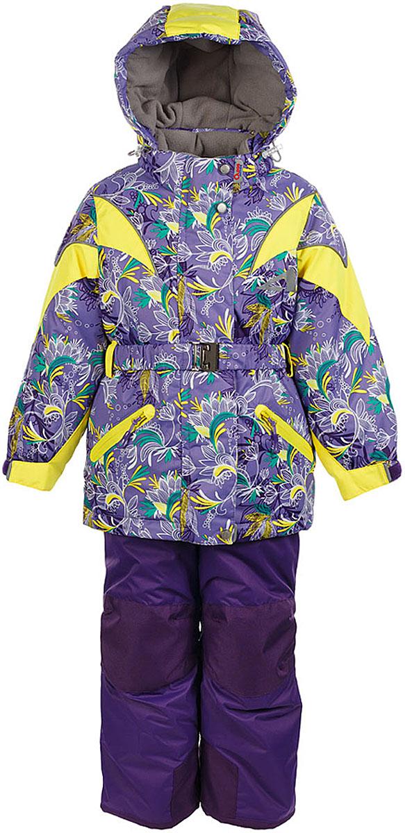 Комплект для девочки Oldos Active Дазирэ: куртка и брюки, цвет: лавандовый, желтый. 1A7SU02-2. Размер 134, 9 лет1A7SU02-2Практичный зимний костюм: куртка и брюки со спинкой. Внешнее покрытие TEFLON - защита от воды и грязи, износостойкость, за изделием легко ухаживать. Мембрана 5000/5000 обеспечивает водонепроницаемость, одежда дышит. Гипоаллергенный утеплитель HOLLOFAN PRO 200/150 г/м2 - эффективно удерживает тепло и дарит свободу движения. Подкладка - флис, в рукавах и брючинах – гладкий полиэстер. Карманы на молнии, внутренний карман с нашивкой-потеряшкой, пояс. Костюм имеет светоотражающие элементы. Изделие прекрасно защитит от ветра и снега, т.к. имеет ряд особенностей. В куртке: съемный капюшон с регулировкой объема, воротник-стойка, ветрозащитные планки, снего-ветрозащитная юбка. Манжеты на рукавах регулируются по ширине, есть эластичные манжеты с отверстием для большого пальца. Низ куртки регулируется по ширине. В брюках: широкие эластичные регулируемые подтяжки, карманы, усиления в местах износа, снего-ветрозащитные муфты. Спинка и подтяжки отстегиваются. Рекомендовано от минус 30°С до плюс 5°С.