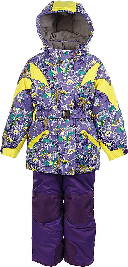 Комплект для девочки Oldos Active Дазирэ: куртка и полукомбинезон, цвет: лавандовый, желтый. 1A7SU02. Размер 140, 10 лет1A7SU02Практичный зимний костюм OLDOS ACTIVE Дазирэ состоит из куртки и полукомбинезона. Внешнее покрытие TEFLON - защита от воды и грязи, износостойкость, за изделием легко ухаживать. Мембрана 5000/5000 обеспечивает водонепроницаемость, одежда дышит. Гипоаллергенный утеплитель HOLLOFAN PRO 200/150 г/м2 - эффективно удерживает тепло и дарит свободу движения. Подкладка - флис, в рукавах и брючинах – гладкий полиэстер. Карманы на молнии, внутренний карман с нашивкой-потеряшкой, пояс. Полукомбинезон приталенный. Костюм имеет светоотражающие элементы. Изделие прекрасно защитит от ветра и снега, т.к. имеет ряд особенностей. В куртке: съемный капюшон с регулировкой объема, воротник-стойка, ветрозащитные планки, снего-ветрозащитная юбка. Манжеты на рукавах регулируются по ширине, есть эластичные манжеты с отверстием для большого пальца. Низ куртки регулируется по ширине. В полукомбинезоне: широкие эластичные регулируемые подтяжки, карманы, усиления в местах износа, защитные муфты. Рекомендовано от минус 30°С до плюс 5°С.