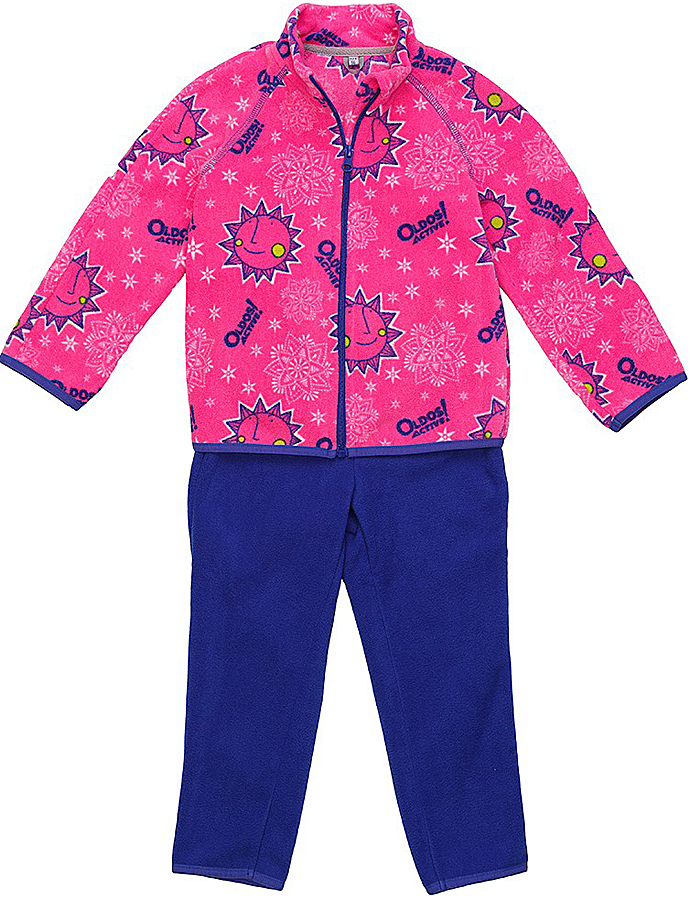 Комплект для девочки флисовый Oldos Active Дори: кофта, брюки, цвет: розовый, синий. 4КС1701. Размер 92, 2 года4КС1701Мягкий и теплый костюм OLDOS ACTIVE Дори из флиса для девочки. Флис имеет двустороннюю антипиллинговую обработку, что позволяет надолго сохранить внешний вид и его основные характеристики. Костюм состоит из принтованной кофты на молнии и однотонных брюк. Воротник-стойка кофты хорошо прилегает и закрывает шею ребенка от ветра. Изнутри шов воротника укреплен х/б лентой, что предотвращает деформацию и натирание. В пояс брюк вшита резинка, есть возможность отрегулировать посадку по талии с помощью внутреннего шнурка. Низ кофты, рукавов и брючин окантованы эластичной тесьмой. В флисовом костюме будет комфортно и тепло на улице и в помещении. Может быть использован зимой в качестве второго слоя под верхнюю одежду. Костюм прекрасно сочетается с мембранной одеждой OLDOS ACTIVE.