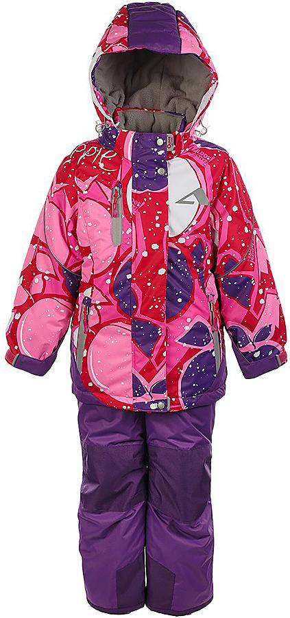 Комплект для девочки Oldos Active Лора: куртка и полукомбинезон, цвет: розовый, фиолетовый. 1A7SU03. Размер 122, 7 лет1A7SU03Практичный зимний костюм OLDOS ACTIVE Лора состоит из куртки и полукомбинезона. Внешнее покрытие TEFLON - защита от воды и грязи, износостойкость, за изделием легко ухаживать. Мембрана 5000/5000 обеспечивает водонепроницаемость, одежда дышит. Гипоаллергенный утеплитель HOLLOFAN PRO 200/150 г/м2 - эффективно удерживает тепло и дарит свободу движения. Подкладка - флис, в рукавах и брючинах – гладкий полиэстер. Карманы на молнии, внутренний карман с нашивкой-потеряшкой. Полукомбинезон приталенный. Костюм имеет светоотражающие элементы. Изделие прекрасно защитит от ветра и снега, т.к. имеет ряд особенностей. В куртке: съемный капюшон с регулировкой объема, воротник-стойка, ветрозащитные планки, снего-ветрозащитная юбка. Манжеты на рукавах регулируются по ширине, есть эластичные манжеты с отверстием для большого пальца. Низ куртки регулируется по ширине. В полукомбинезоне: широкие эластичные регулируемые подтяжки, карманы, усиления в местах износа, снего-ветрозащитные муфты. Рекомендовано от минус 30°С до плюс 5°С.