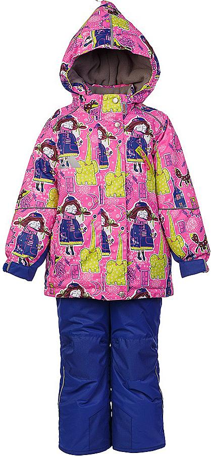 Комплект для девочки Oldos Active Нелли: куртка и полукомбинезон, цвет: розовый, синий. 1A7SU01. Размер 86, 1,5 года1A7SU01Технологичный зимний костюм OLDOS ACTIVE Нелли состоит из куртки и полукомбинезона. Внешнее покрытие TEFLON - защита от воды и грязи, износостойкость, за изделием легко ухаживать. Мембрана 5000/5000 обеспечивает водонепроницаемость, одежда дышит. Гипоаллергенный утеплитель HOLLOFAN PRO 200/150 г/м2 - эффективно удерживает тепло и дарит свободу движения. Подкладка - флис, в рукавах и брючинах – гладкий полиэстер. Карманы на молнии, внутренний карман с нашивкой-потеряшкой. Полукомбинезон приталенный. Костюм имеет светоотражающие элементы. Изделие прекрасно защитит от ветра и снега, т.к. имеет ряд особенностей. В куртке: съемный капюшон с регулировкой объема, воротник-стойка, ветрозащитные планки, снего-ветрозащитная юбка. Манжеты на рукавах регулируются по ширине, есть эластичные манжеты с отверстием для большого пальца. Низ куртки регулируется по ширине. В полукомбинезоне: широкие эластичные регулируемые подтяжки, карманы, усиление в местах износа, снего-ветрозащитные муфты. Рекомендовано от минус 30°С до плюс 5°С.